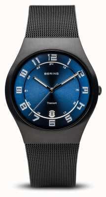 Bering Tytan | szczotkowana czarna niebieska tarcza 11937-227