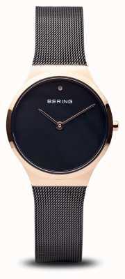 Bering Klasyczny | polerowane czarne różowe złoto, czarna twarz 12131-166