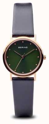 Bering Klasyczny | czarny zielony pasek z polerowanego różowego złota czarny pasek 13426-469