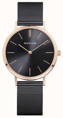 Bering Zegarek damski klasyczne czarne różowe złoto 14134-166