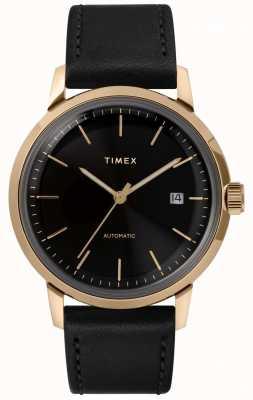 Timex Męski automatyczny czarny skórzany pasek z czarną tarczą TW2T22800
