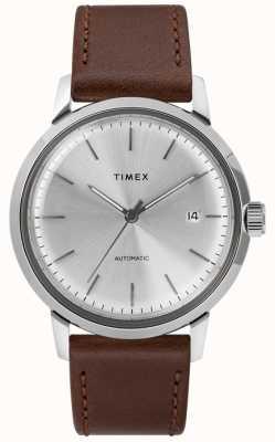 Timex Męski automatyczny brązowy skórzany pasek srebrnej tarczy TW2T22700