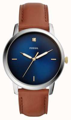 Fossil Męski, minimalistyczny zegarek z brązowym skórzanym paskiem, niebieska tarcza FS5499