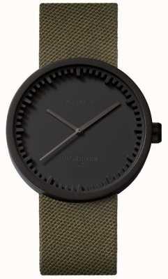 Leff Amsterdam Zegarek na rękę d38 cordura matowy, czarny, zielony pasek LT71014