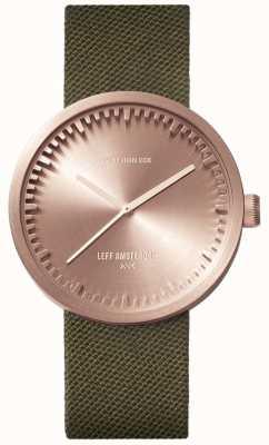 Leff Amsterdam Zegarek rurkowy d38 | kordura różowe złoto | zielony pasek LT71034
