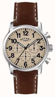 Rotary Męski chronograf ze skórzanym paskiem w kolorze białego tarczy GS00430/31