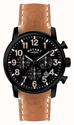 Rotary Męski pasek skórzany z chronografem i czarną tarczą GS00433/04