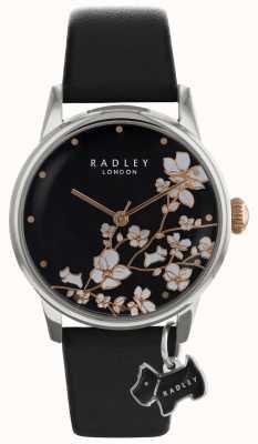 Panie Radley | druk kwiatów czarna tarcza | skórzany pasek RY2687