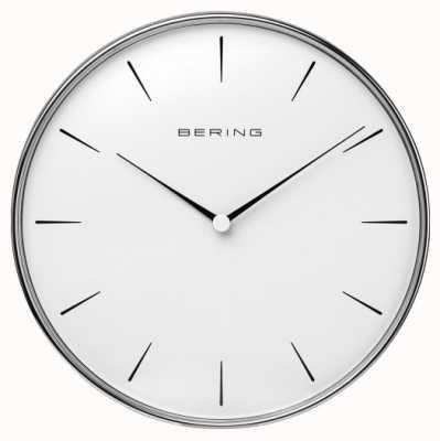 Bering Zegar ścienny biały ze stali nierdzewnej 90292-04R