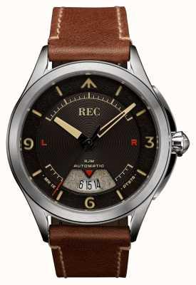 REC Automatyczny brązowy skórzany pasek Spitfire RJM-02