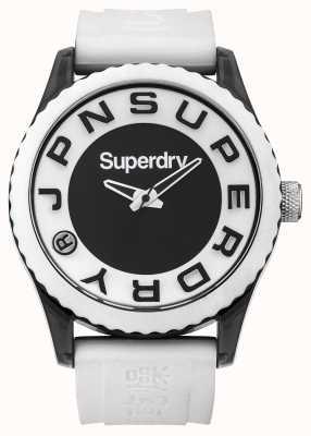 Superdry Urban | biały pasek silikonowy | czarno-biała tarcza SYG145WA