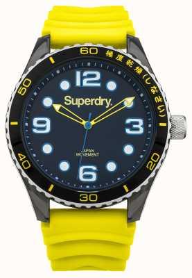 Superdry Żółty pasek silikonowy | czarna tarcza | niebieskie akcenty SYG163YA