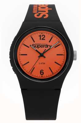 Superdry Urban | czarny pasek silikonowy | pomarańczowa tarcza SYG017BO