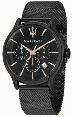 Maserati Mężczyzna epoca 42mm | czarna tarcza | czarna bransoletka z siatki R8873618006