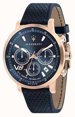 Maserati Mężczyzna gt 44mm | słoneczny | różowe złoto | niebieska tarcza | Skórzany R8871134003