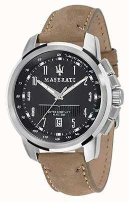 Maserati Męski successo 44mm | czarna tarcza | skórzany pasek R8851121004