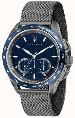 Maserati Męskie traguardo 45mm | niebieska tarcza | szara bransoletka z siatki R8873612009