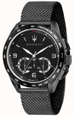 Maserati Męskie traguardo 45mm | czarna tarcza | czarna bransoletka z siatki R8873612031