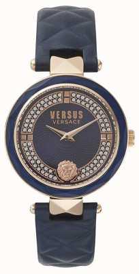 Versus Versace Covent garden damski | niebieska tarcza swarovskiego | niebieska skóra VSPCD2817