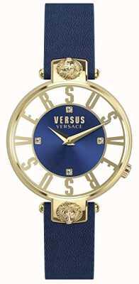 Versus Versace Womens kirstenhof | niebieska / biała tarcza | niebieski skórzany pasek VSP490218