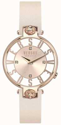 Versus Versace Damski kristenhof | różowo-biała tarcza | różowy skórzany pasek VSP490318