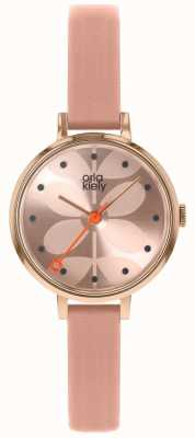 Orla Kiely | damski zegarek bluszcz różowa tarcza | różowy skórzany pasek | OK2252