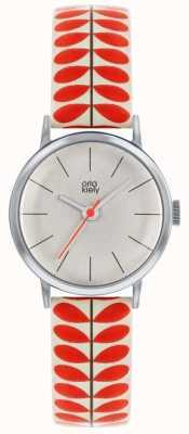 Orla Kiely | damski zegarek patricia | kremowy i czerwony pasek do nadruku pnia OK2267