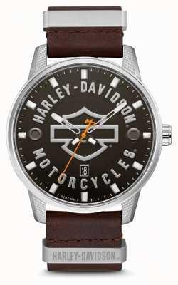 Harley Davidson Męski, brązowy skórzany pasek z oznaczeniem tarczy HD 76B178