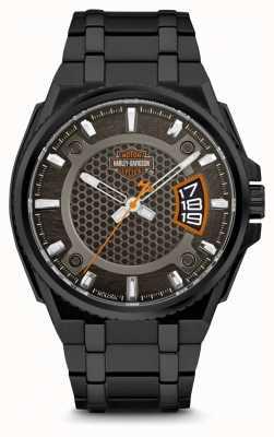 Harley Davidson Męskie dla niego | czarna tarcza | czarna bransoleta ze stali nierdzewnej 78B151