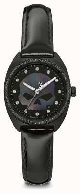 Harley Davidson Damska kryształowa czaszka czarna tarcza | czarna skóra 78L125