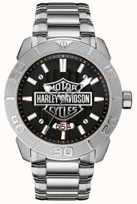 Harley Davidson Męska bransoleta ze stali nierdzewnej | czarna tarcza 76B169