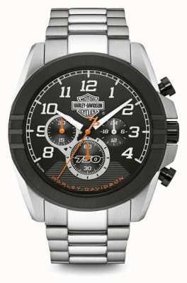 Harley Davidson Męski chronograf | czarna tarcza | dwukolorowa stal nierdzewna 76B175