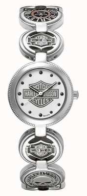Harley Davidson Damski zegarek na rękę z zegarem charm | srebrna stal nierdzewna 76L145