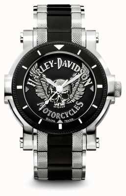 Harley Davidson Męska dwukolorowa bransoleta ze stali nierdzewnej | czarna tarcza 78A109