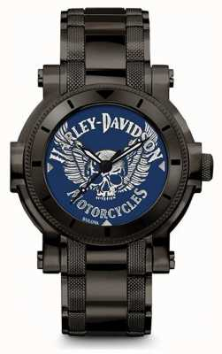 Harley Davidson Męskie dla niego | czarna bransoleta ze stali nierdzewnej | niebieska tarcza 78A117