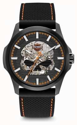 Harley Davidson Męskie czaszki g | czarna tarcza | czarny silikonowy pasek 78A118