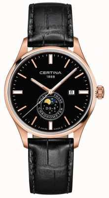 Certina Męskie ds-8 | czarny | różowe złoto | zegarek księżycowy C0334573605100