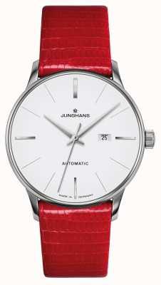 Junghans Meister damen automatic | czerwony pasek z prawdziwej jaszczurki 027/4844.00