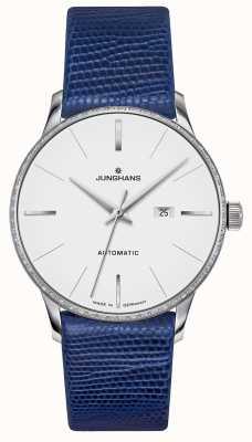 Junghans Meister damen automatic | zestaw diamentów | niebieski pasek jaszczurki 027/4846.00