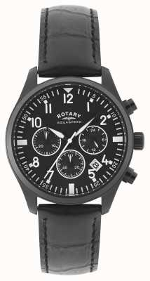 Rotary Męski chronograf | czarny skórzany pasek | czarna tarcza GS00110/04