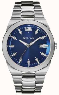 Bulova Męska klasyczna bransoleta z niebieskiej tarczy ze stali nierdzewnej 96B220