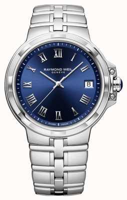 Raymond Weil Parsifal klasyczny zegarek bransoleta z niebieską tarczą 5580-ST-00508