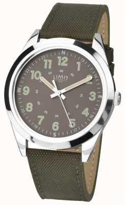 Limit Panowie | zegarek w stylu wojskowym | zielony pasek khaki i zielona tarcza 5951