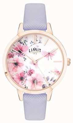 Limit | damski sekretny zegarek ogrodowy | różowo-biała tarcza | fioletowy strp 60022