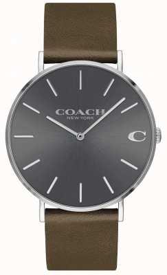 Coach Męskie karły | brązowy skórzany pasek | szara tarcza 14602153