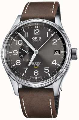 ORIS Duży męski zegarek Crown Propilot GMT z małą sekundą 45 mm 01 748 7710 4063-07 5 22 05FC