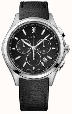 EBEL | zegarek chronograf męski | czarny skórzany pasek | 1216343
