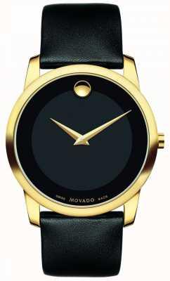 Movado | klasyczny zegarek męski muzeum | czarna skóra | 0606876