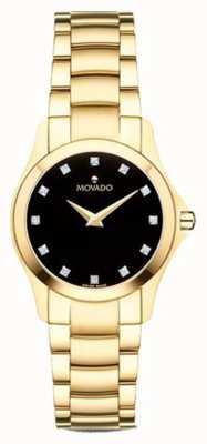 Movado | damski zegarek moisan | złoty odcień | czarna tarcza | 0607028
