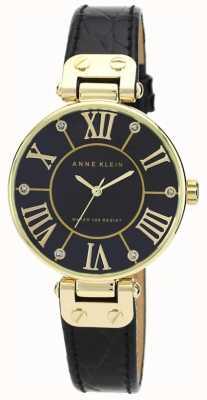 Anne Klein | zegarek sygnowany kobietą czarny i złoty | AK-N1396BMBK